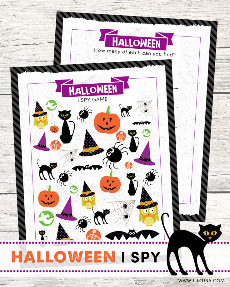 FREE Halloween I Spy Printable Game for kids - a fun activity for Halloween parties or classroom Halloween activities.