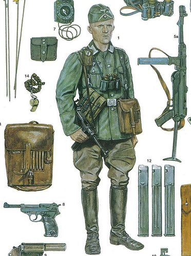 artwork of the illustrator adam hook showing a german army officer during the invasion of france: