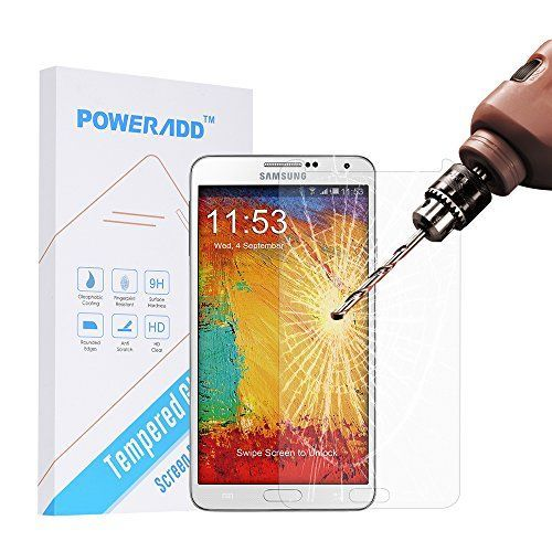 Samsung Note 3 Screen Protector Poweradd Samsung Galaxy Note 3 Tempered Glass Screen Protector with Bubble Free 9H Hardness Touchscreen Accuracy  Retail Packaging ** You can find more details by visiting the image link.