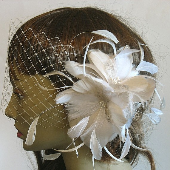 Champagne and diamond white feather flower by alicehartcouture, $89.00