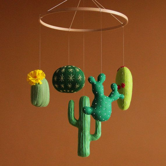 Baby mobile Green nursery Cactus baby mobile by FeltBabyCorner