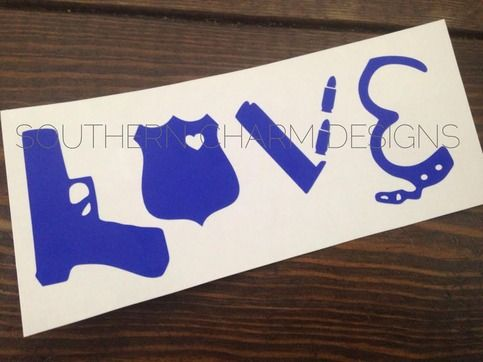Police Gear LEO Love Car Decal from Southern Charm Designs