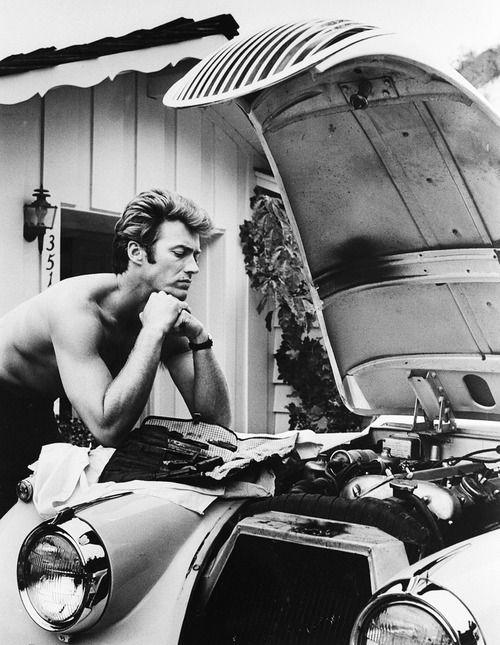 Clint Eastwood works on his 1958 Jaguar: Car, But, Eastwood Working, Xk 120, 1958 Jaguar, Clinteastwood, Photo, People, Clint Eastwood