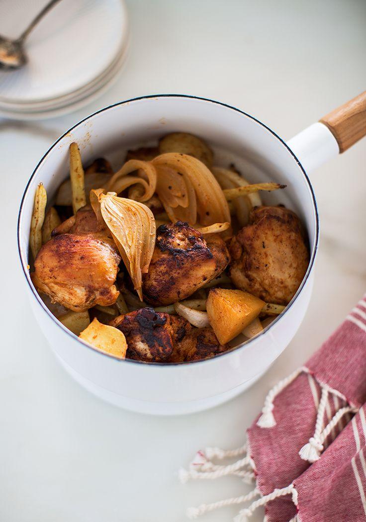 Ça, c'est une nouvelle recette de poulet à la portugaise que j'ai créée dans le cadre d'un petit dîner auquel on a participé pour lancer la campagne Je carbure à la précision de Bayer, dont Alex est ambassadeur.