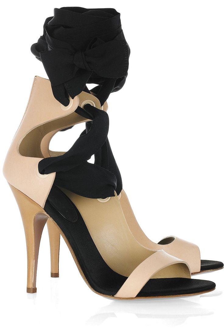 Black ribbon sandals - Vionnet Leather Silk Ribbon Sandals 515 Shoes Heels