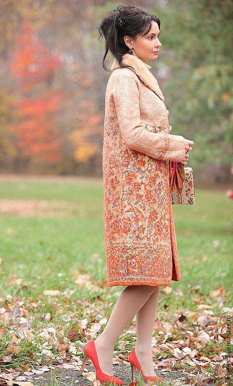 """Купить авторское пальто из шерсти и шелка """"Краски Осени"""" - рыжий, авторское пальто, пальто с орнаментами"""