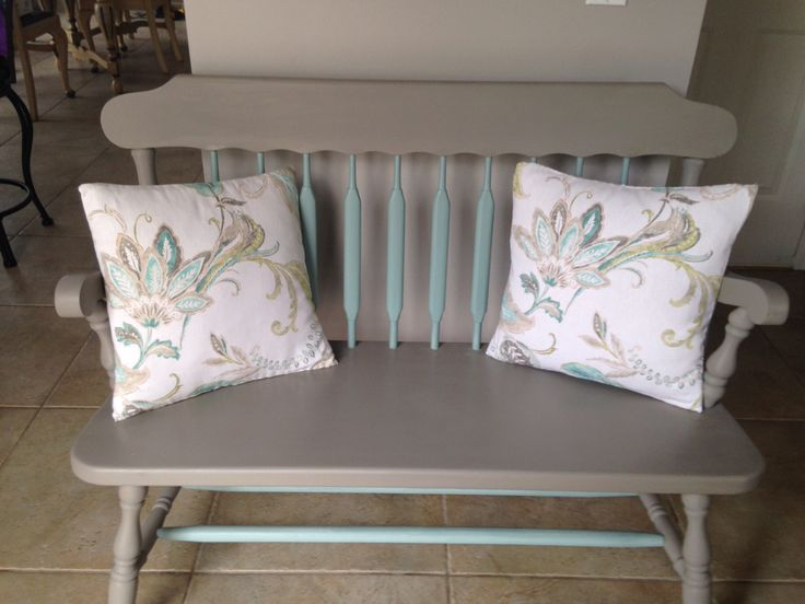 Wooden bench finished with chalk paint pillows covered with left over fabric
