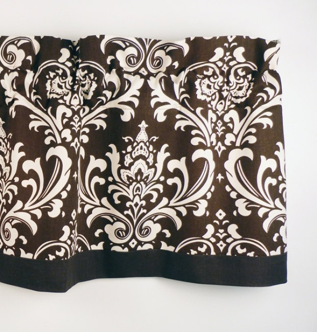 Traditional Valance in Brown & OffWhite Damask by LaRicaHome, $34.95