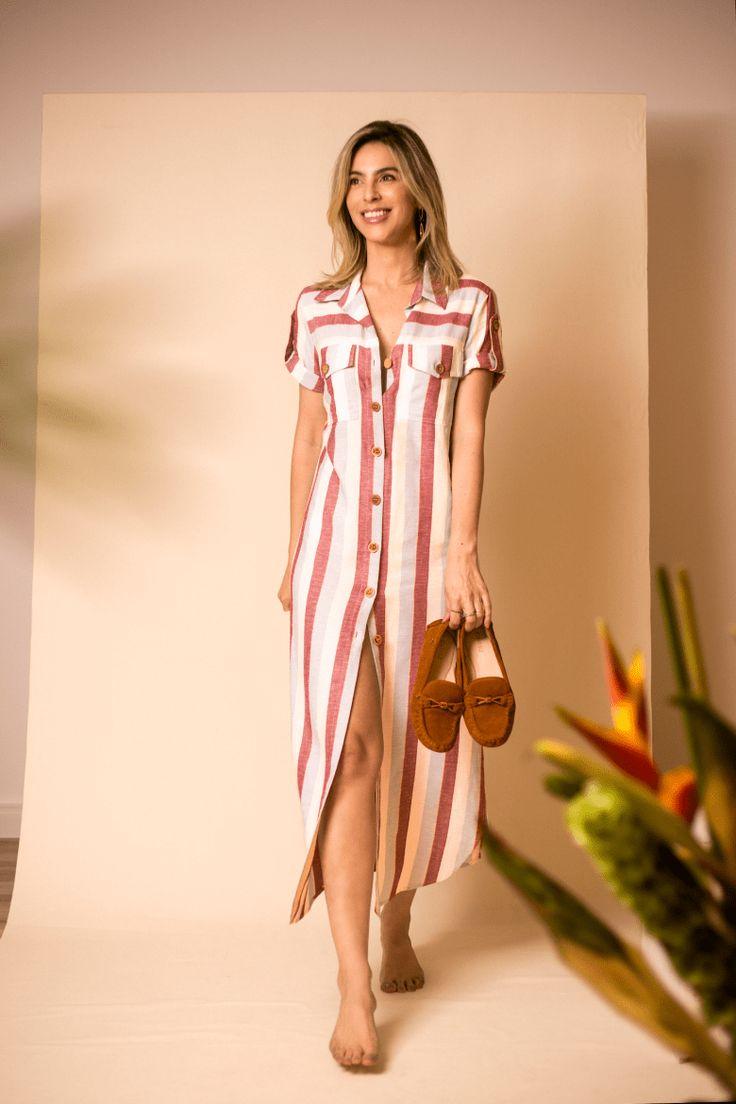 Vestido chemise listrado Mocassim OWME marrom look verao look casual com mocassi…