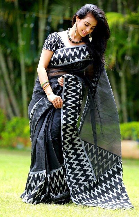 Black Kota supernet saree with ikkat applique borders and pallu