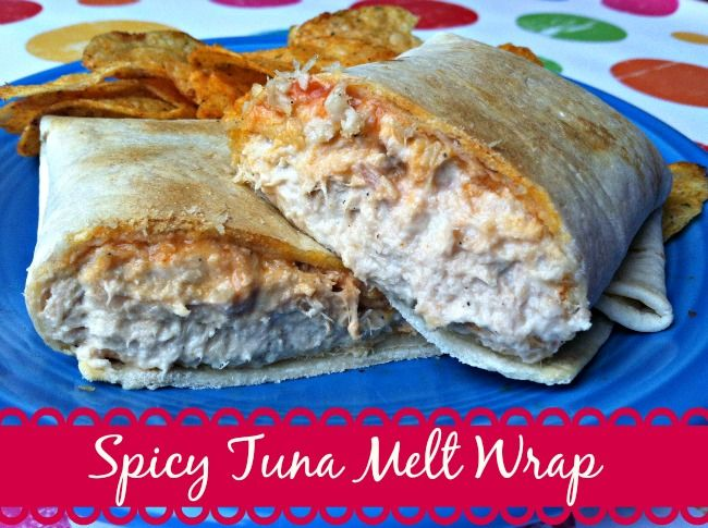 Looking for a quick and easy lunch idea?  Try this Spicy Tuna Melt Wrap!  With just a bit of a spicy kick, and warm melty cheese, this lunch idea is a hit! - Sincerely, Mindy