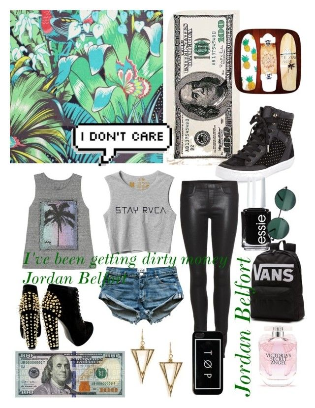 """""""Jordan Belfort"""" by manateeloveramkp ❤ liked on Polyvore featuring Osborne & Little, Rebecca Minkoff, Billabong, RVCA, Helmut Lang, NLY Accessories, Essie, YHF, Victoria's Secret and women's clothing"""
