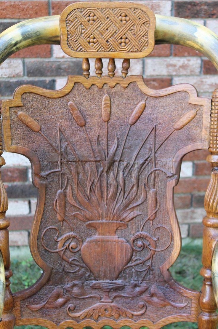 Antique oak rocking chair - Unique Antique 19thc Western Horn Hand Carved Oak Rocking Chair Nr