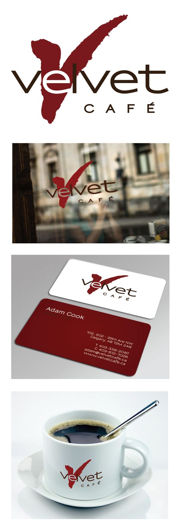 Client: Velvet Cafe, Calgary AB. Logo and Business Card design