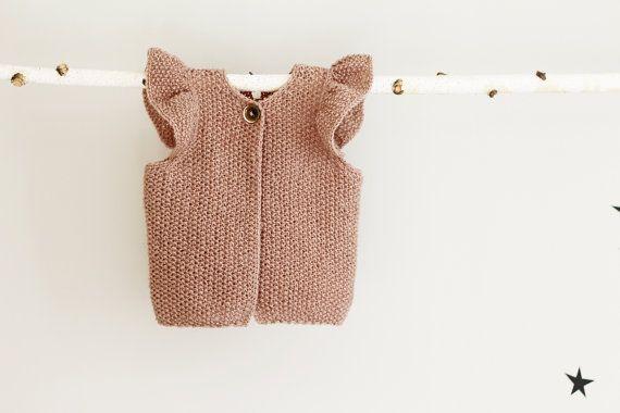 Knit Baby Girl Vest, Baby Girl Waistcoat with Raffles