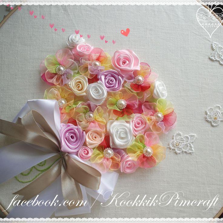 ribbon embroidery , งานปักริบบิ้น