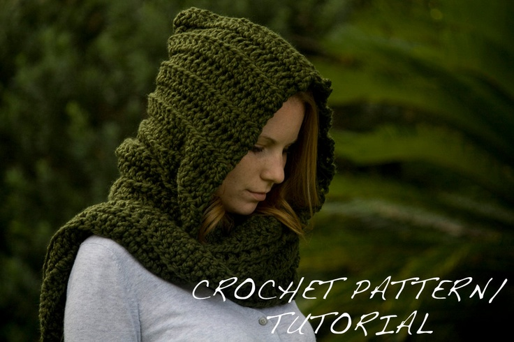 Free Knit Scoodie Pattern : CROCHET PATTERN Hooded Scarf Pattern, Crochet Scoodie Instant Download Croc...