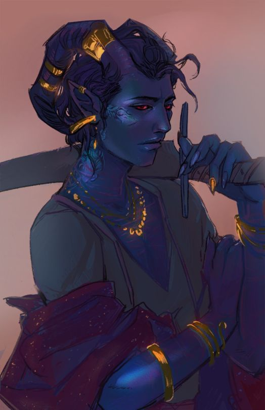 Female Blue Tiefling With Sword And Gold Jewellery Characters In
