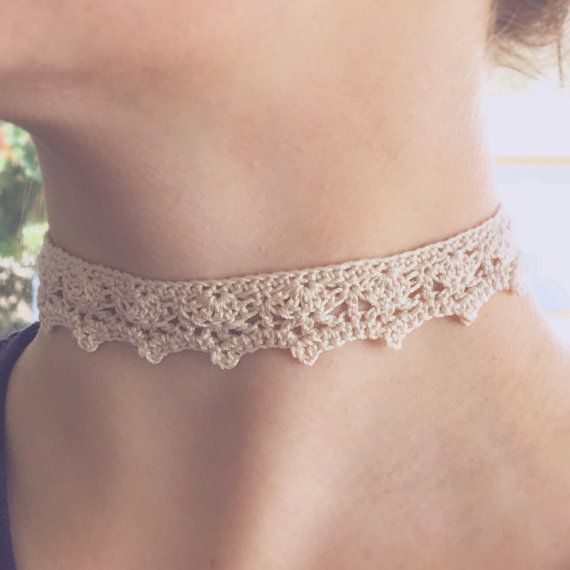 Crochet Choker Cream Victorian Necklace Bridal by WardleCrafts