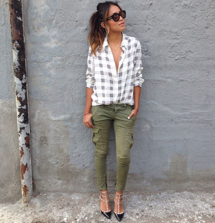 Plaid + Cargo Pants + Valentino http://sincerelyjules.com/2014/03/cargo.html