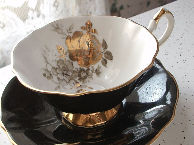 vintage black tea cup and saucer set Queen Anne by ShoponSherman etsy