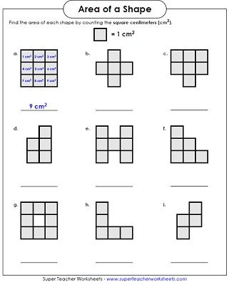 Area Worksheet Counting Squares Area worksheets