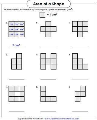 area worksheet counting squares llol x pinterest. Black Bedroom Furniture Sets. Home Design Ideas