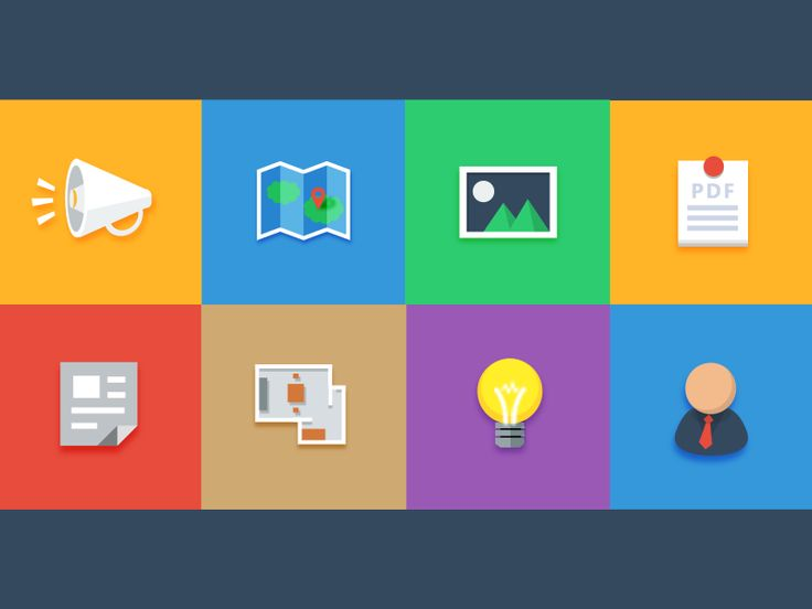 Flat Icons / Flat Design / Icons / Pictograms / Symbols