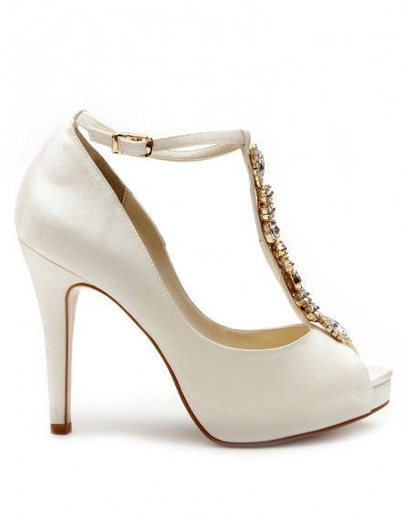 Bejewelled T-Bar Peep Toes in Ivory