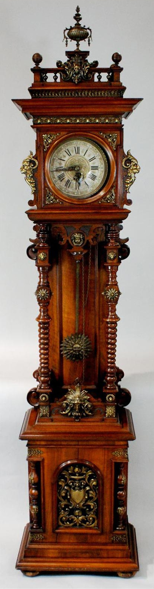 Exquisitely carved and bronze-embellished tall-case grandfather clock. Don Presley Auction image.