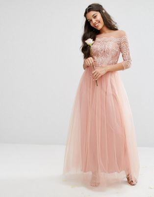 Chi Chi London Premium Lace Maxi Dress With Tulle Skirt