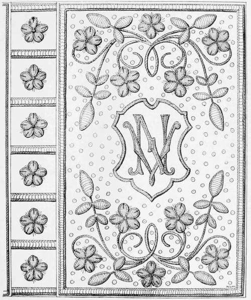 Embroidered Book cover. Designed by M. L. Macomber.
