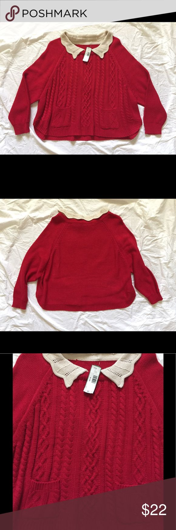 Peter Pan Collar Knit Sweater Bright candy apple red knit sweater with cream collar. Swing style with batwing sleeves. Size marked M, can work for M/L imo. Front has cable-knit pattern and two small pockets. So cute but too big for me so letting it go. Tops