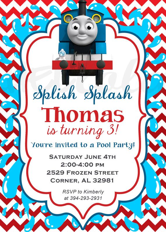 10 best thomas birthday party ideas images on pinterest | birthday, Party invitations