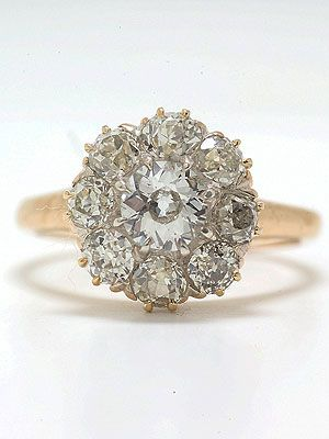 1890 Victorian Engagement Rings | Antique Victorian Old European Cut Diamond Engagement Ring, RG-2870