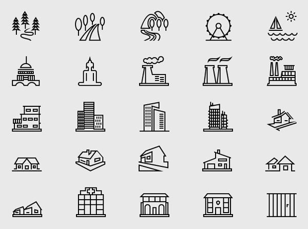 Free Building & Landmark Icons (50 Icons) #freeicons #vectoricons #psdicons #uidesign #ios #android
