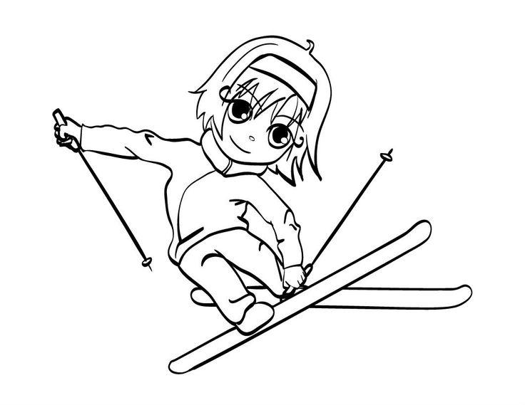 13 best Skiing images on Pinterest   Skifahren, Malvorlagen und Färben