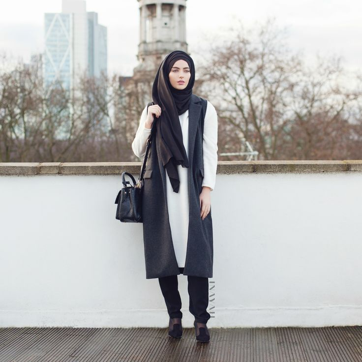 INAYAH | Long Grey #Waistcoat + Black Crossover #Trousers + Black Jersey #Hijab www.inayahcollection.com #modestwinterfashion#modestwinterstyle#wintermididresses#modestwinterdresses