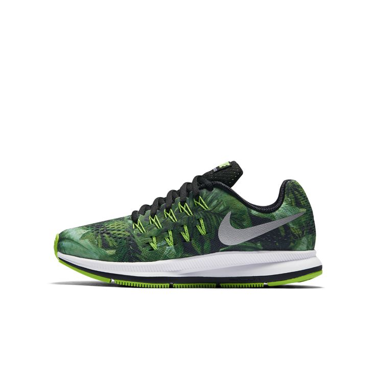 Nike Air Zoom Pegasus 33 Print Big Kids  Running Shoe Size 2Y Green    Clearance Sale