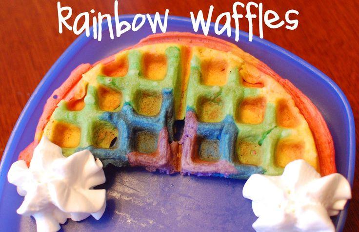rainbow waffles: Breakfast Ideas, Food Colors, For Kids, Birthday Breakfast, Rainbows Theme, Cute Ideas, Fun Breakfast, St. Patrick'S Day, Rainbows Waffles