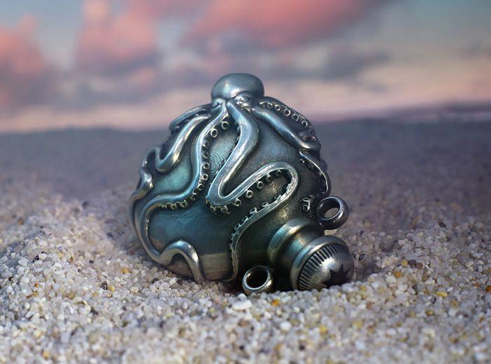 Silver Octopus Vial Pendant, manufactured via Shapeways 3d printing service. Design by Pookas.de