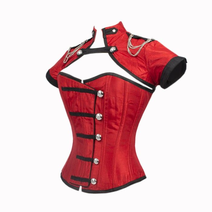 Red Corset with Button Down Placket and Jacket
