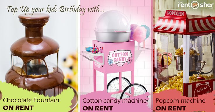 Kids love to have cotton candy, Chocolates and Pop Corns most and let them enjoy all these on their birthday along with their Friends. RentSher provides complete Birthday celebration package with Cotton Candy Machines, #Chocolate Fountains, #Pop_corn Machines, Balloon Decoration, Stage setup, #ballpits, #Rollers, #Slides, #Ride-ons, #SeeSaw, Baby Tunnels, Hopper Balls, Magician, Artists on rent at affordable cost across #Bangalore and #Delhi. Bangalore: http://bit.ly/2ixMy5d
