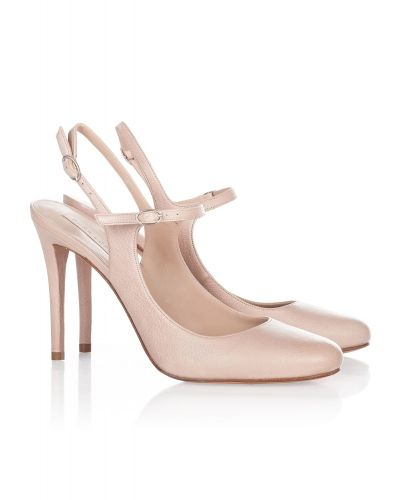 High heel shoes in nude leather