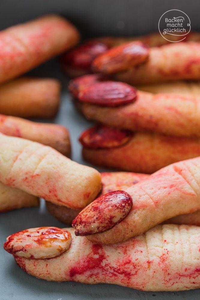 Diese Halloween-Finger sehen täuschend echt aus - und sind total einfach zu machen. Quasi die süßesten Kekse zum Gruseln! | http://www.backenmachtgluecklich.de
