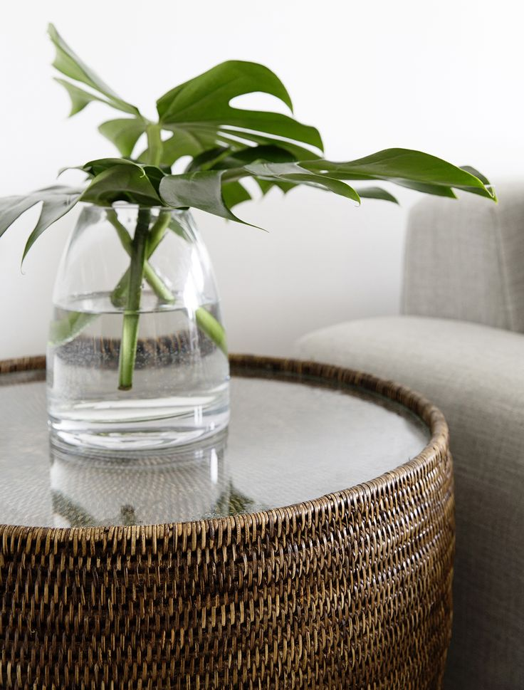 Add the finishing touch to your living space with our Natural Rattan Drum Glass Top Side Table. www.rgimports.com.au