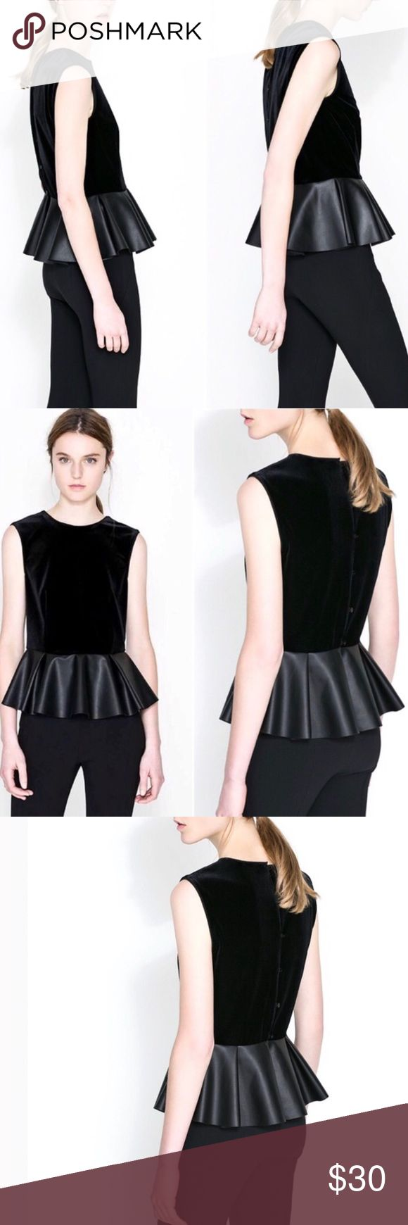 ZARA Velvet and Leather Peplum Top Velvet top with faux leather peplum; buttons down back Zara Tops