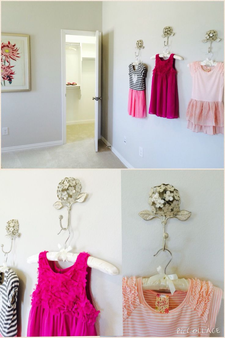 "Girls room decor Pretty hangers on gorgeous hooks to hang her next day clothing choices!  Great idea for a large wall ""art"""