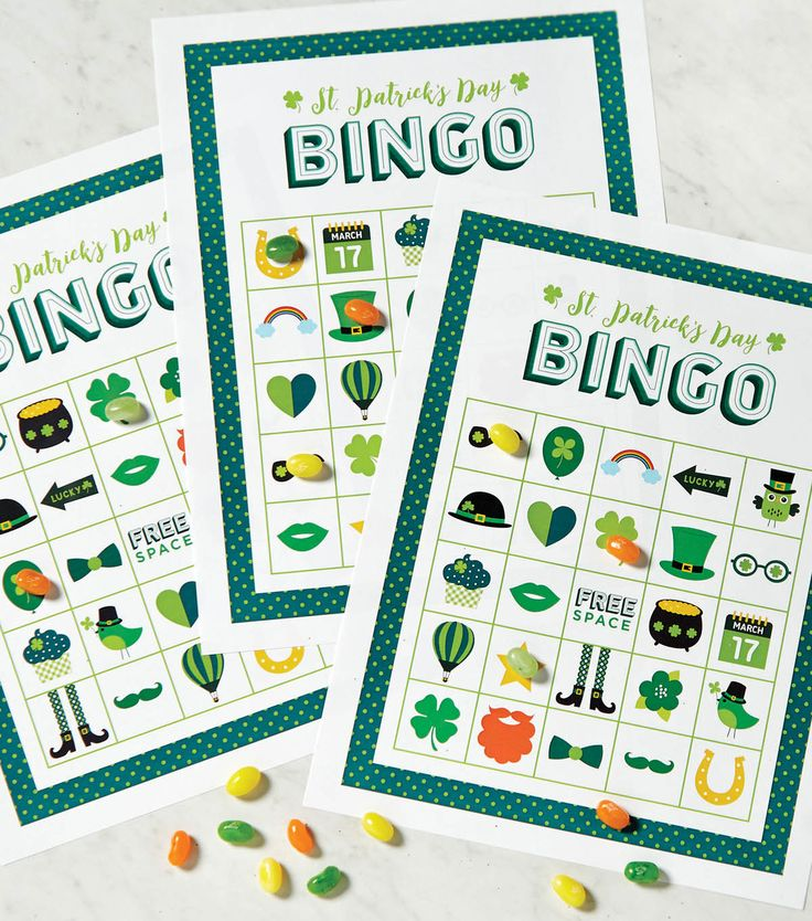 Download Free St. Patrick's Day Bingo Games to print and play! http://www.bookdrawer.com/go/st-patricks-day-games/