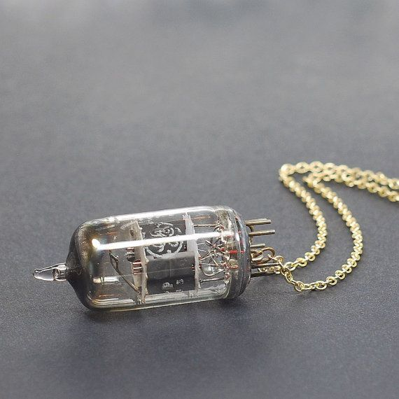 Steampunk Necklace Jewelry- Upcycled Brass Industrial Vacuum Tube Necklace, Radio Tube Necklace, Steampunk Jewelry by Tanith | Smoked Glass Goggles